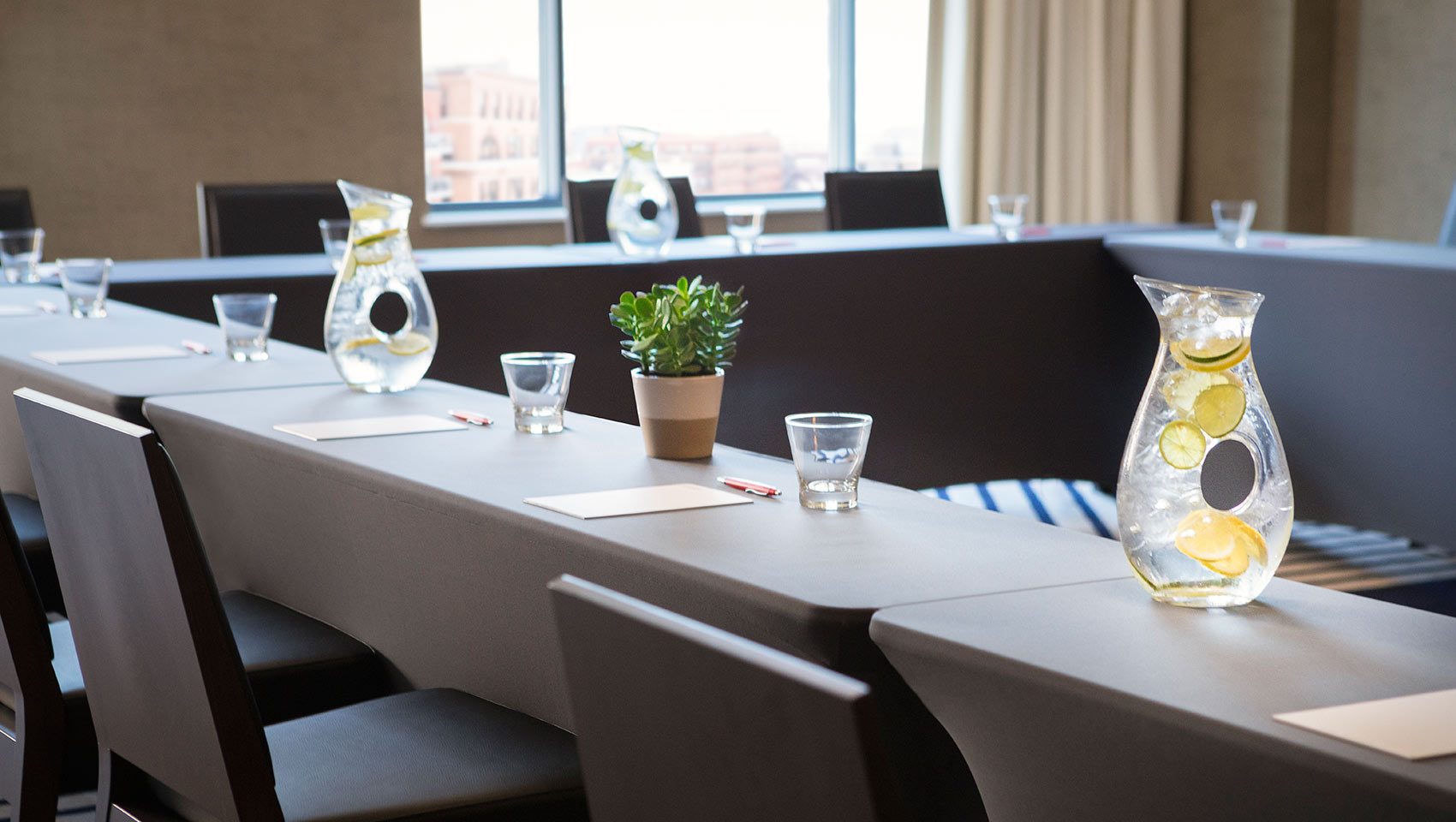 kimpton journeyman hotel meeting space table setups